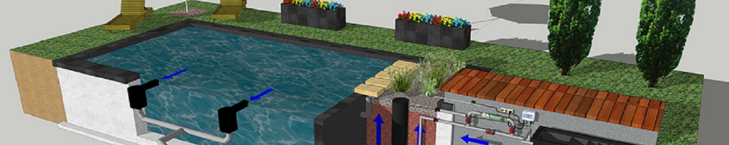 Zwemvijver volgens het upflow principe